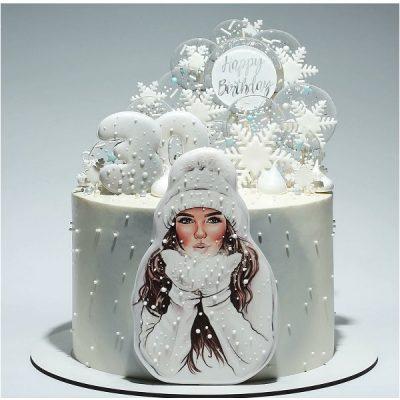 تاپر تزیین کیک بهگز مدل دختر زمستانی