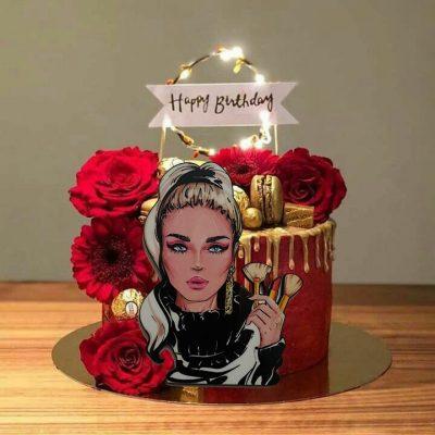تاپر تزیین کیک بهگز مدل دختر گریمور آرایشگر